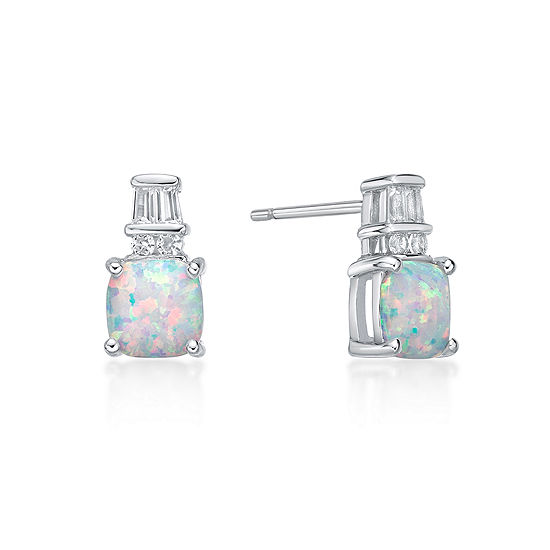 Lab Created White Opal Sterling Silver 11mm Stud Earrings