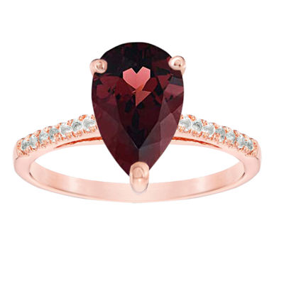Womens 1/10 CT. T.W. Genuine Red Garnet 14K Rose Gold Cocktail Ring