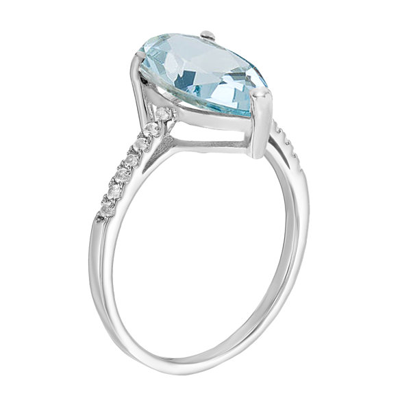 Womens 1/10 CT. T.W. Lab Created Blue Aquamarine 14K Gold Cocktail Ring