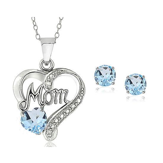 Genuine Blue Topaz Sterling Silver Heart 2-pc. Jewelry Set