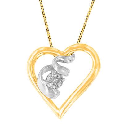 Womens 1/10 CT. T.W. Genuine White Diamond 10K Two Tone Gold Pendant Necklace
