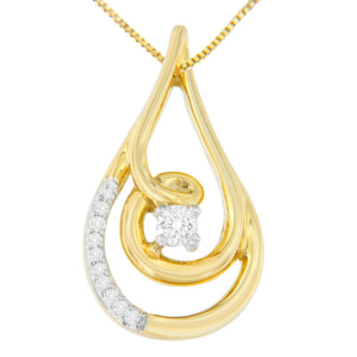 Womens 1/10 CT. T.W. White Diamond 10K Gold Pendant Necklace