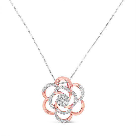 Womens 3/8 CT. T.W. Genuine White Diamond 10K Rose Gold Pendant Necklace