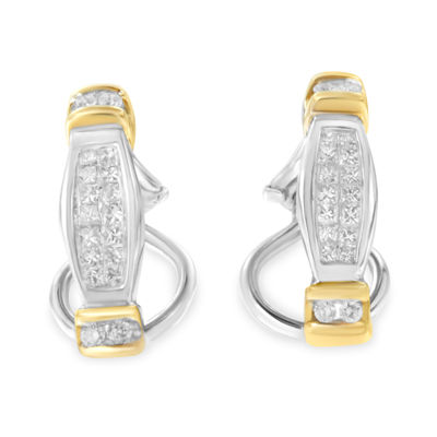 1/2 CT. T.W. White Diamond 14K Two Tone Gold 20mm Round Hoop Earrings