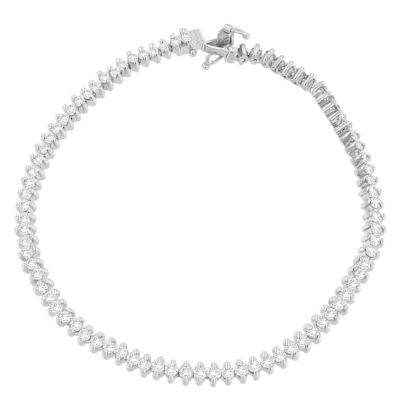 3 CT. T.W. White Diamond 18K White Gold Round 7 Inch Tennis Bracelet