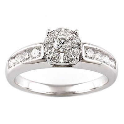 Womens 1 CT. T.W. Genuine White Diamond 10K White Gold 14K Gold Bridal Set