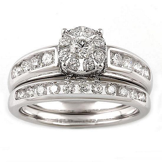 Womens 1 Ct Tw Genuine White Diamond 10k White Gold 14k Gold Engagement Ring