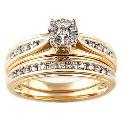 Womens 1/4 CT. T.W. Genuine White Diamond 10K Two Tone Gold Bridal Set