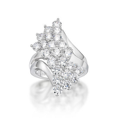 Diamonart Womens White Cubic Zirconia Sterling Silver Cluster Ring