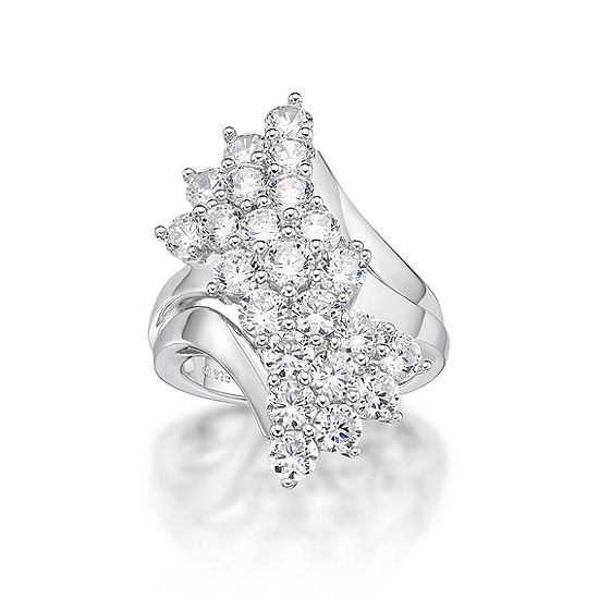 Diamonart Womens White Cubic Zirconia Sterling Silver Cluster Cocktail Ring