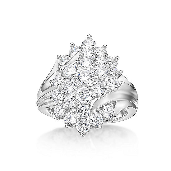DiamonArt® Womens White Cubic Zirconia Sterling Silver Cluster Cocktail Ring