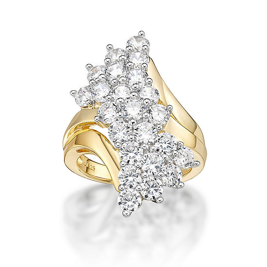 DiamonArt® Womens White Cubic Zirconia 14K Gold Over Silver Cluster Cocktail Ring