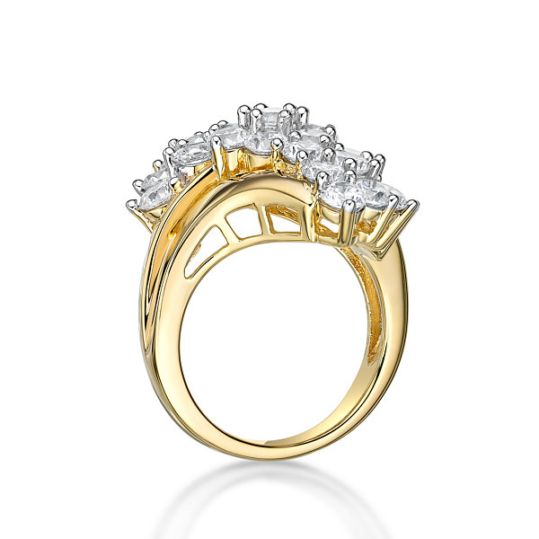 Diamonart Womens Greater Than 6 CT. T.W. Lab Created White Cubic Zirconia 14K Gold Over Silver Cluster Ring