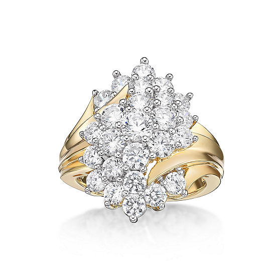 Diamonart Womens White Cubic Zirconia 14K Gold Over Silver Cluster Cocktail Ring