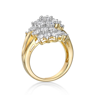 Diamonart Womens White Cubic Zirconia 14K Gold Over Silver Sterling Silver Cluster Cocktail Ring