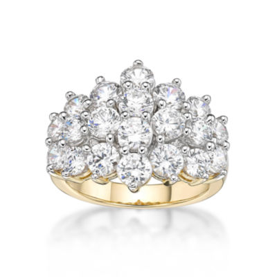 Diamonart Womens White Cubic Zirconia 14K Gold Over Silver Sterling Silver Cluster Ring