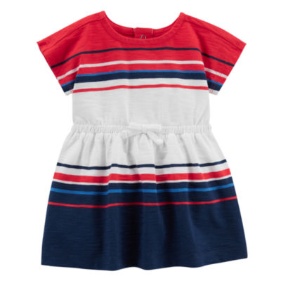 Carter's 4th Of July Short Sleeve Stripe A-Line Dress - Baby Girls