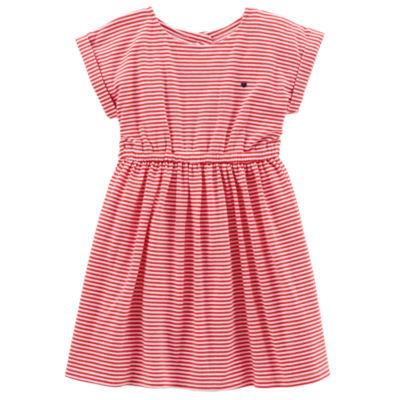 Carter's Short Sleeve Cuffed Sleeve Stripe A-Line Dress - Toddler Girls