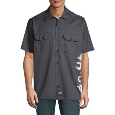 Dickies Mens Short Sleeve Moisture Wicking Button-Front Shirt