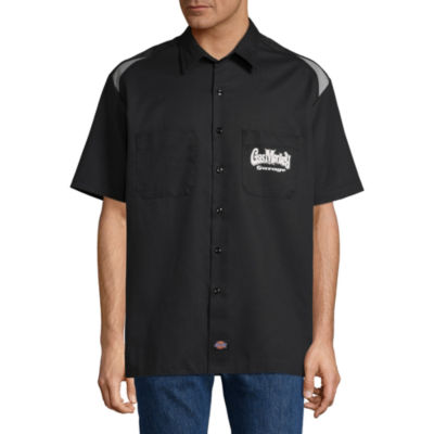 Dickies Mens Short Sleeve Moisture Wicking Button-Front Shirt