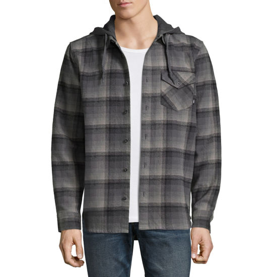 Vans Mens Hooded Neck Long Sleeve Button-Front Shirt