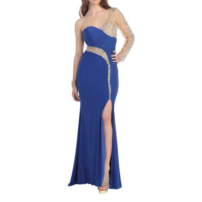 Sexy One Long Sleeve Stretchy Prom Evening Gown