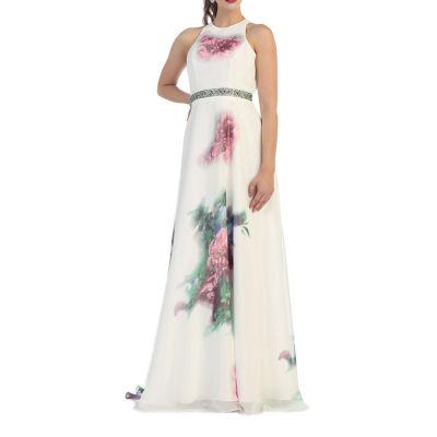 Floral Print Evening Dress
