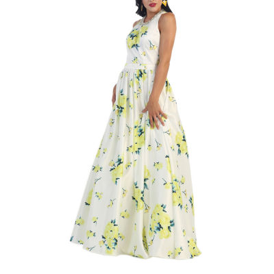 Sleeveless Floral Print Evening Gown With Pockets
