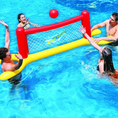 "94"" Red  Yellow and Blue Inflatable Swimming Pool Water Sports Volleyball Game Set"