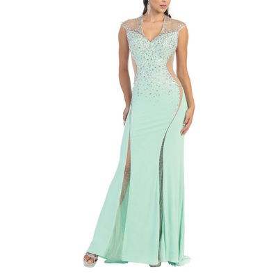 Cap Sleeve Stretchy Prom Dress