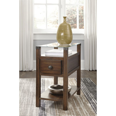 Signature Design by Ashley® Diamenton Chair Side End Table with Glass Top