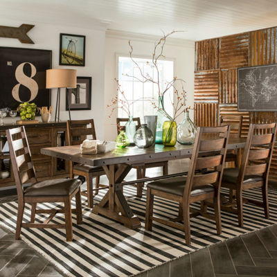 Taos 7-Pc Dining Set with Trestle Table and Ladder Back Chairs