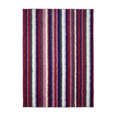 Garland Rug Bright Striped Shag Rectangular Area Rug