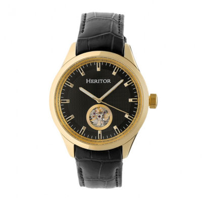 Heritor Unisex Black Strap Watch-Herhr7006