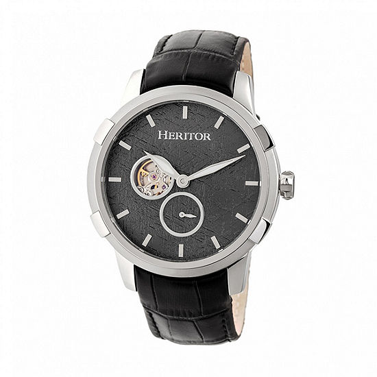 Heritor Unisex Adult Automatic Black Leather Strap Watch-Herhr7201