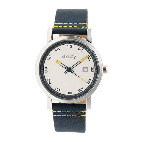 Simplify Unisex Adult Blue Leather Strap Watch-Sim5301