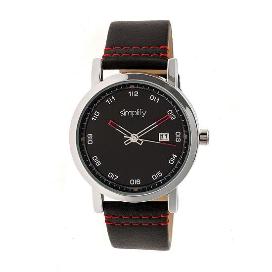 Simplify Unisex Black Leather Strap Watch-Sim5302