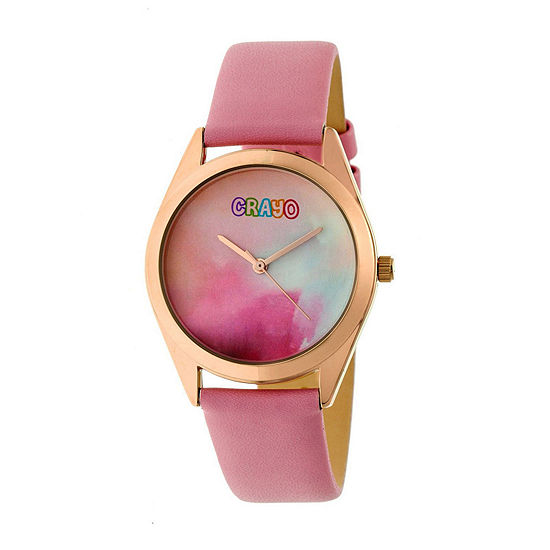 Crayo Unisex Adult Pink Leather Strap Watch-Cracr4005