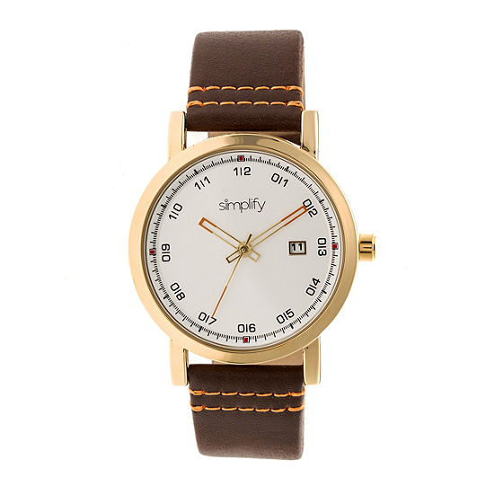 Simplify Unisex Adult Brown Leather Strap Watch-Sim5304