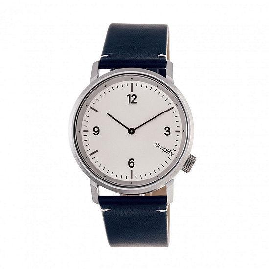 Simplify Unisex Adult Blue Leather Strap Watch-Sim5501