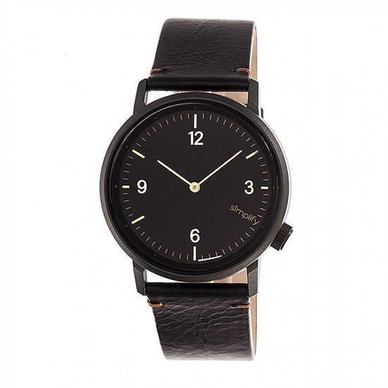 Simplify Unisex Adult Black Leather Strap Watch-Sim5502