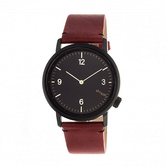 Simplify Unisex Adult Red Leather Strap Watch-Sim5503