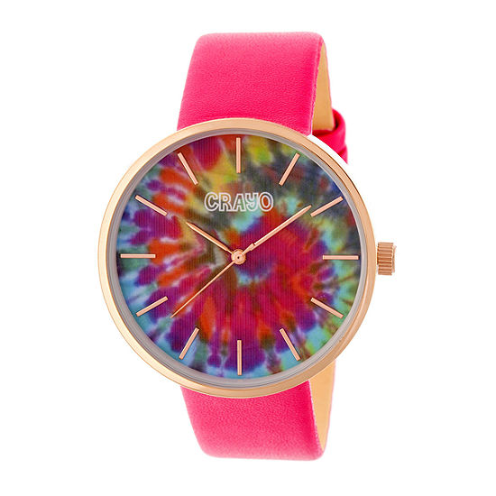 Crayo Womens Pink Strap Watch-Cracr4206