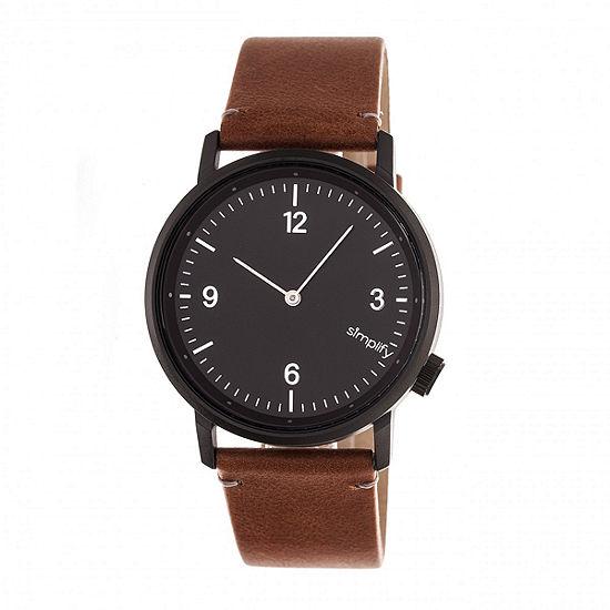 Simplify Unisex Adult Brown Leather Strap Watch-Sim5505