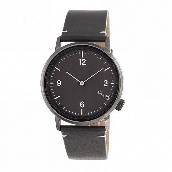 Simplify Unisex Adult Black Leather Strap Watch-Sim5506