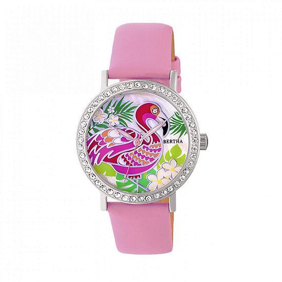 Bertha Unisex Adult Pink Leather Strap Watch-Bthbr7702