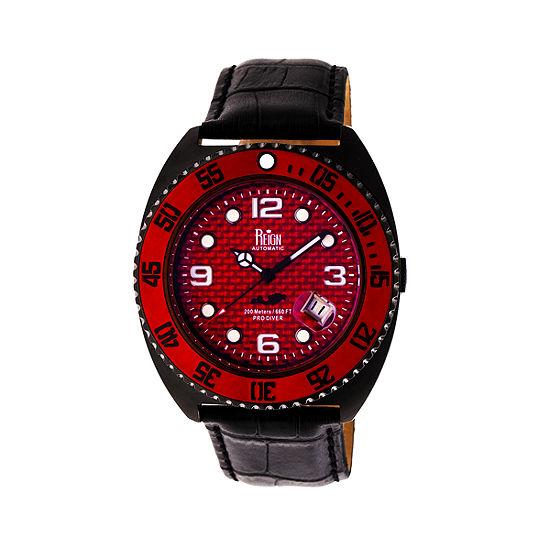Reign Unisex Adult Automatic Black Leather Strap Watch-Reirn4907