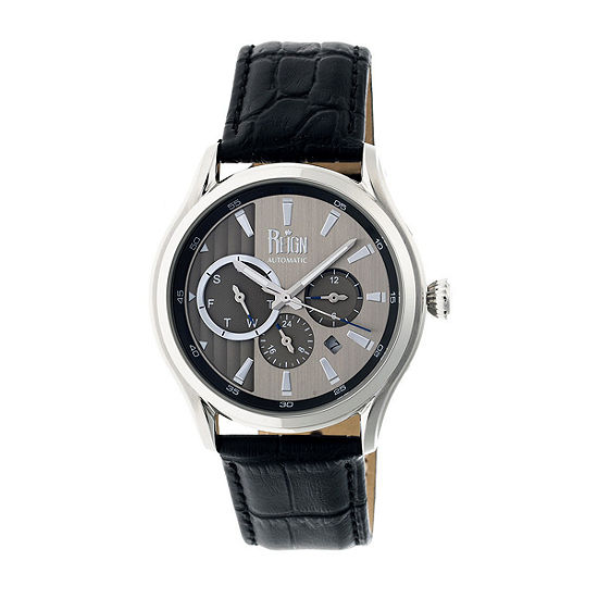 Reign Unisex Adult Automatic Black Leather Strap Watch-Reirn1501
