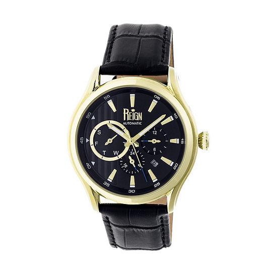 Reign Unisex Adult Automatic Black Leather Strap Watch-Reirn1503