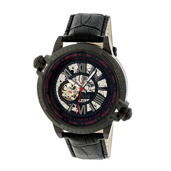 Reign Unisex Adult Automatic Black Leather Strap Watch-Reirn2103